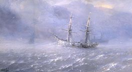 Shipping in a Frozen Stormy Sea | Aivazovsky | Painting Reproduction