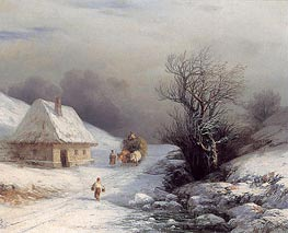 Little-Russian Ox Cart in Winter | Aivazovsky | Painting Reproduction