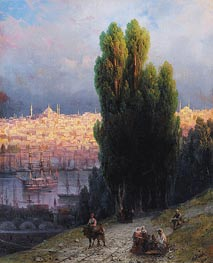 Constantinople, View of the Golden Horn with a Self-Portrait of the Artist Sketching | Aivazovsky | Painting Reproduction