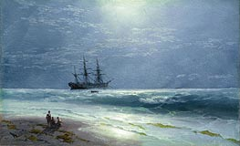 Moonlit Landing | Aivazovsky | Painting Reproduction