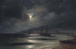 On the Coast at Night | Aivazovsky | Painting Reproduction