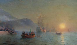Columbus Sailing from Palos, 1892 by Aivazovsky   Painting Reproduction
