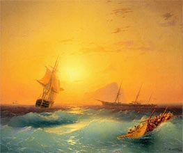 American Shipping off the Rock of Gibraltar | Aivazovsky | Painting Reproduction