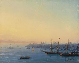 Sunset over Constantinople, Undated by Aivazovsky | Painting Reproduction
