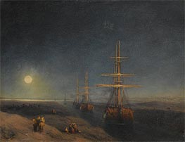 Ships Passing through a Canal in Moonlight, 1876 by Aivazovsky | Painting Reproduction