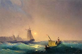 Shipping off the Dutch Coast, 1844 by Aivazovsky | Painting Reproduction