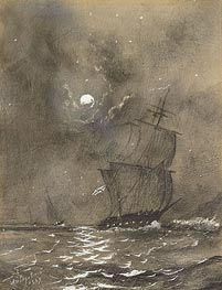 Vessels in Full Sail by Moonlight , Undated by Aivazovsky | Painting Reproduction