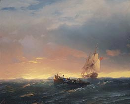Vessels in a Swell at Sunset , 1850 by Aivazovsky | Painting Reproduction