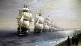 Review of the Black Sea Fleet, 1886 by Aivazovsky | Painting Reproduction