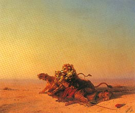Lions in the Desert, 1874 by Aivazovsky | Painting Reproduction