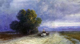 Ox Cart Crossing a Flooded Plain, 1897 by Aivazovsky | Painting Reproduction