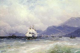 Russian and Turkish Shipping off Trabzon, 1888 by Aivazovsky | Painting Reproduction