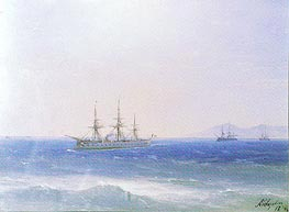 French Warships offshore, 1874 by Aivazovsky | Painting Reproduction