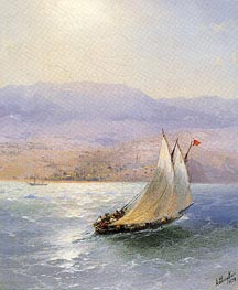 Sailing Barge in Crimea with the Alipka Palace in the Distance, 1890 by Aivazovsky | Painting Reproduction