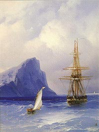 Sailing Boat approaching a Russian Ship, undated by Aivazovsky | Painting Reproduction