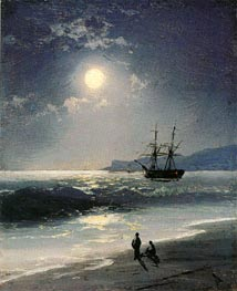 Sailing Ship on a Calm Sea by Moonlight, 1897 by Aivazovsky | Painting Reproduction
