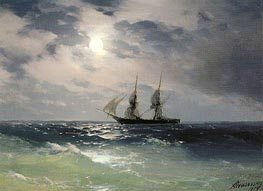 The Brig Mercury in the Moonlight, 1874 by Aivazovsky | Painting Reproduction