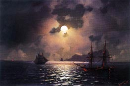 Shipping on a Moonlit Night, 1865 by Aivazovsky | Painting Reproduction