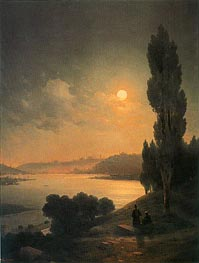 Constantinople, Moonlit View from Eyup, 1874 by Aivazovsky | Painting Reproduction