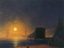 Moonlit Pier, 1853 by Aivazovsky | Painting Reproduction