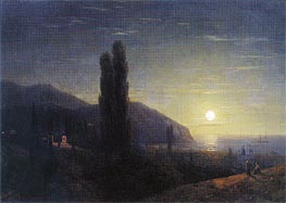 Crimean View in the Moonlight, 1860 by Aivazovsky | Painting Reproduction