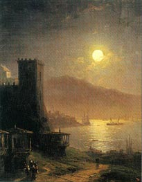 Genoese Tower off the Crimean Coast, 1888 by Aivazovsky | Painting Reproduction