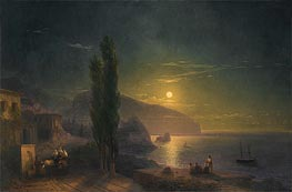 Ayu Dag under a Full Moon, 1856 by Aivazovsky | Painting Reproduction