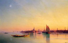 Sunset over the Venetian Lagoon, 1873 by Aivazovsky | Painting Reproduction