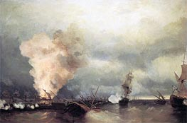 Battle of Vyborg Bay, 25 June 1790, 1846 by Aivazovsky | Painting Reproduction