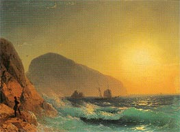 Pushkin Looking out to Sea from the Crimean Coast, 1889 by Aivazovsky | Painting Reproduction