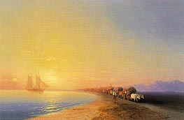 Ox Train on the Sea Shore, undated by Aivazovsky | Painting Reproduction