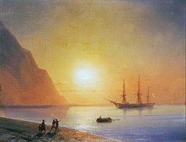 Russian Warship off the Beach, 1868 by Aivazovsky | Painting Reproduction