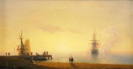 Turkish Coastal Scene, Ship off the Beach, 1845 by Aivazovsky | Painting Reproduction