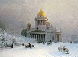 St. Petersburg: St. Isaac's Cathedral on a Frosty Day, c.1870 by Aivazovsky | Painting Reproduction