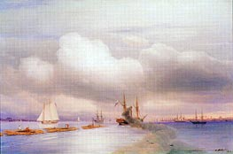 Steamship and Rafts off St. Petersburg, 1859 by Aivazovsky | Painting Reproduction