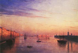 View along the Neva in St. Petersburg with the Stock Exchange in the Distance, 1881 by Aivazovsky | Painting Reproduction