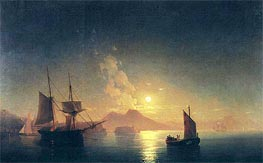 View of Vesuvius on a Moonlit Night, undated by Aivazovsky | Painting Reproduction