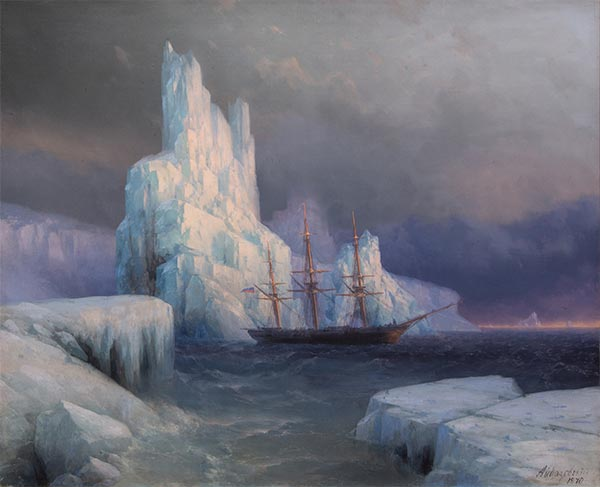 Ice Mountains in Antarctica, Icebergs, 1870 | Aivazovsky | Gemälde Reproduktion