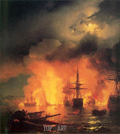 The Battle of Chesma, 25-26 June 1770, 1848 | Aivazovsky | Painting Reproduction