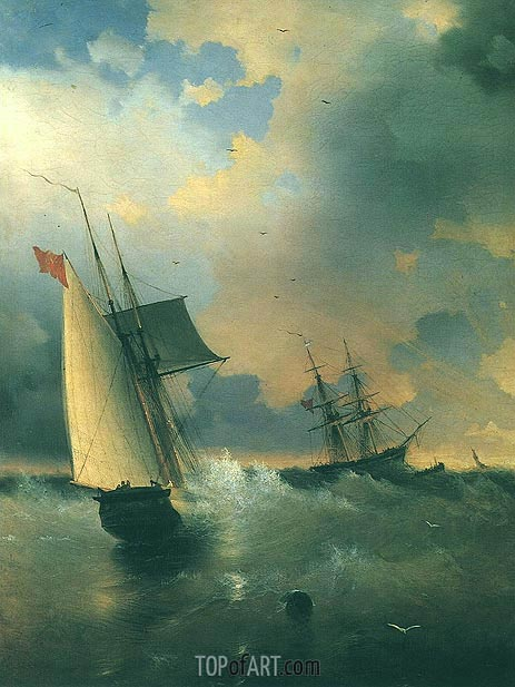 The Windjamer, Sailing-Ship, 1859 | Aivazovsky | Gemälde Reproduktion