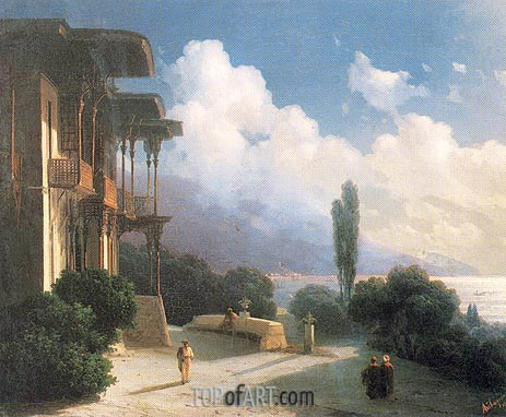 The Vicinities of Yalta at Night, 1866 | Aivazovsky | Painting Reproduction