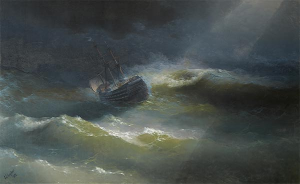 The Maria in a Gale, 1892 | Aivazovsky | Gemälde Reproduktion