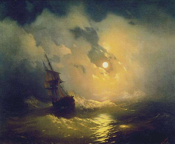 Storm on the Sea at Night, 1849 | Aivazovsky | Painting Reproduction