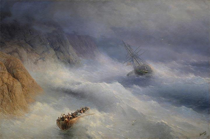 Aivazovsky | Storm at Cape Aja, 1875