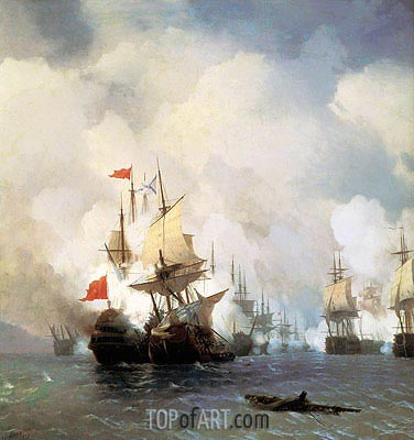 The Battle in the Straits of Chios, 24 June 1770, 1848 | Aivazovsky | Painting Reproduction