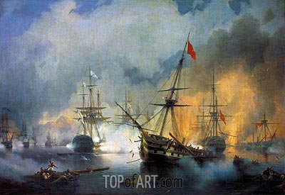 The Battle of Navarino, 20th October 1827, 1846 | Aivazovsky| Painting Reproduction