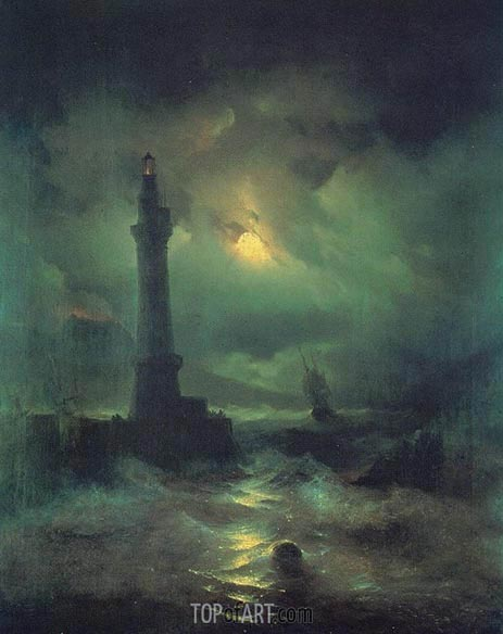 The Neapolitan Beacon, 1842 | Aivazovsky | Gemälde Reproduktion