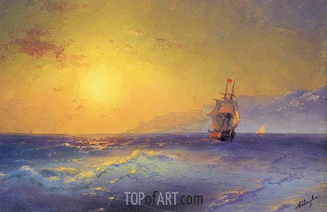 At the Crimean Coast, c.1890 | Aivazovsky | Painting Reproduction