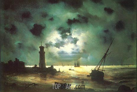 Seacoast at Night. At a Beacon, 1837 | Aivazovsky | Gemälde Reproduktion