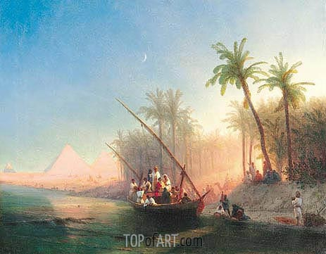 Aivazovsky | Boat on the Nile with Pyramids of Gizeh, 1872